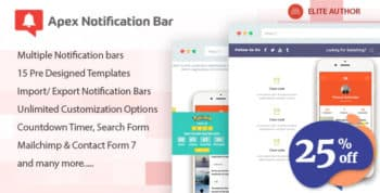 Apex Notification Bar - Responsive Notification Bar Plugin for WordPress
