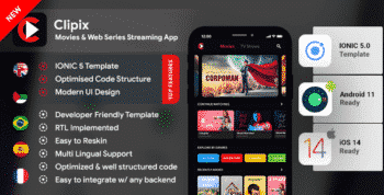 Movies Series Video Streaming Android App Template+Video Streaming iOS App Template| IONIC 5| Clipix