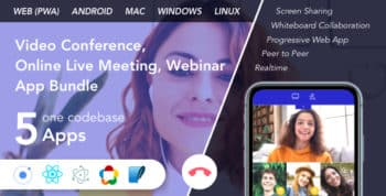 Teammeet - Video Conference, Online Live Meeting, Webinar App Bundle (Web, Android & Desktop)